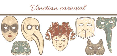 colored template with composition of Venetian masks