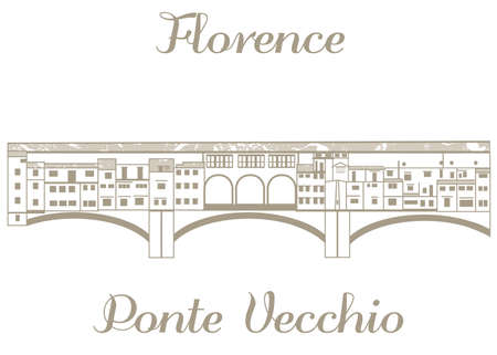 textured illustration of Ponte Vecchio