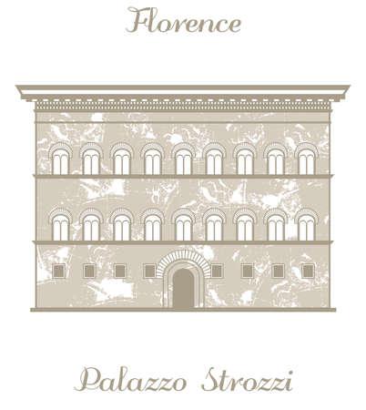 textured illustration of Palazzo Strozzi Vektoros illusztráció