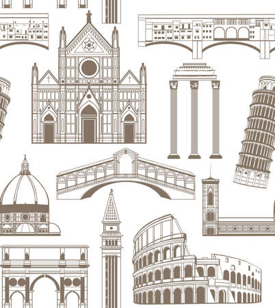 holy place: seamless colored background with famous Italian landmarks Illustration