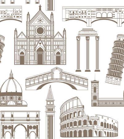 basilica: seamless colored background with famous Italian landmarks Illustration