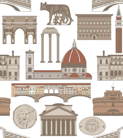 seamless colored background with famous Italian landmarks