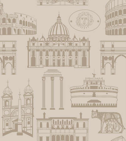 holy place: seamless background with landmarks and symbols of Rome Illustration