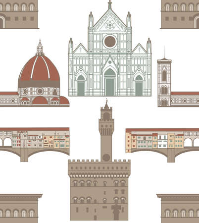 florence: seamless background with landmarks of Florence