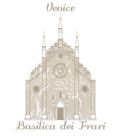 vector hand-drawn illustration of Basilica dei Frari