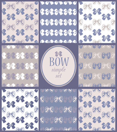 scarpbook: vector cute simple set of seamless bow backgrounds Illustration