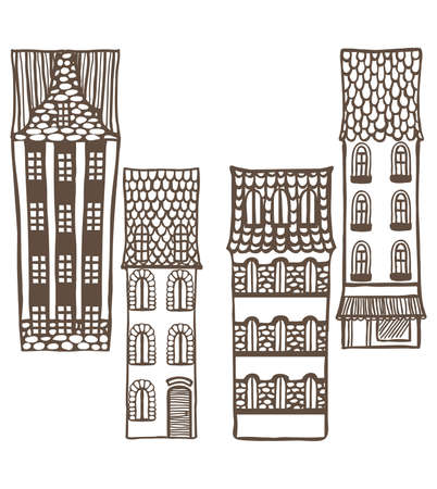 tiled: vector set of cute hand-drawn many-storeyed tiled houses
