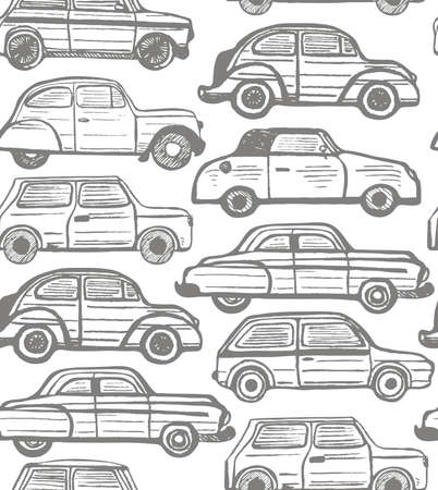 handdrawn: vector seamless background with hand-drawn retro cars