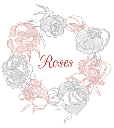 handdrawn: vector decorative floral hand-drawn garland with roses Illustration