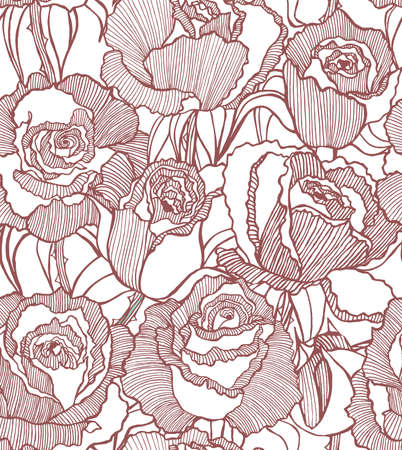 flower white: vector seamless hand drawn background with roses Illustration