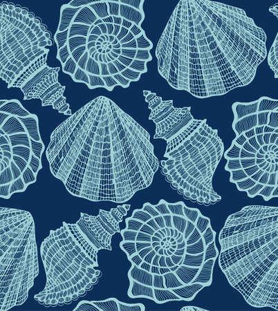 handdrawn: vector dark seamless hand-drawn background with seashells