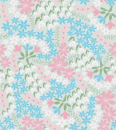 tender: vector seamless tender background with spring flowers