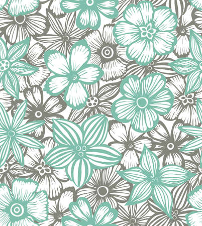 handdrawn: vector hand-drawn seamless background with graphic flowers