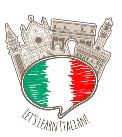 handdrawn: vector studying Italian language colored hand-drawn label with speaking bubble Illustration