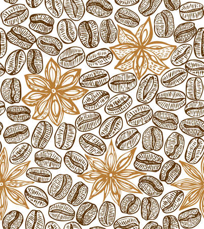 star anise: light seamless coffee background with star anise