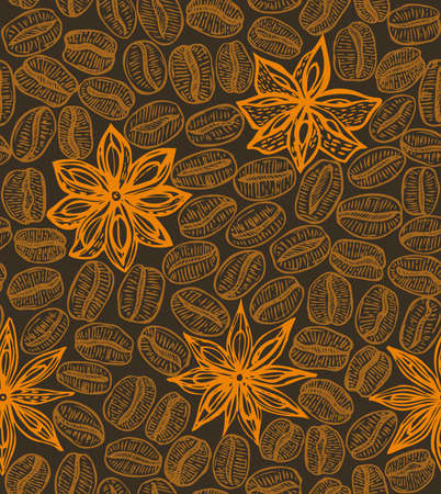 star anise: dark hand-drawn seamless coffee background with star anise