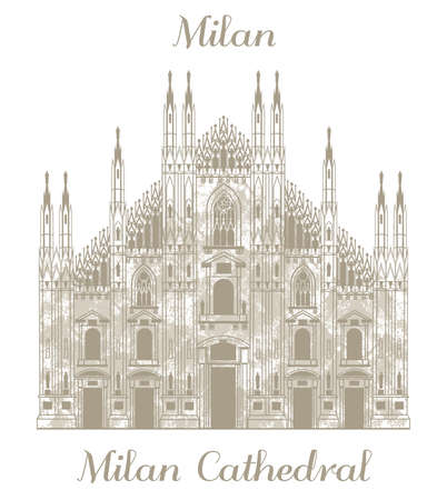 milan: vector hand drawn illustration of Milan Cathedral