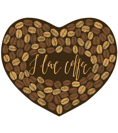 cofee: vector dark hand-drawn isolated cofee heart with lettering inside