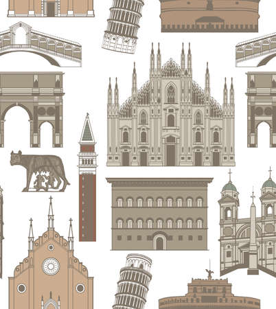 old bridge: vector seamless colored background with famous Italian landmarks Illustration