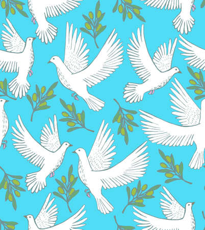 handdrawn: vector seamless hand-drawn background with doves and olive branches
