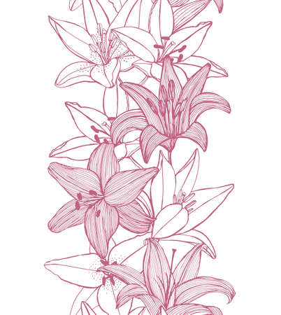 handdrawn: vector seamless background with hand-drawn lilies