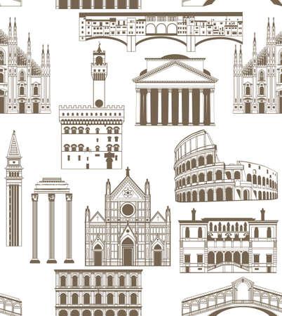 de fondo sin fisuras con las señales famosas de italianas Ilustración de vector