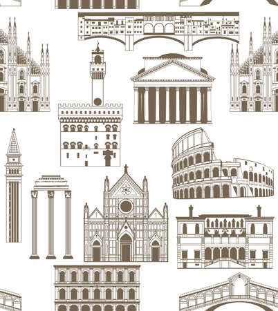 seamless background with famous Italian landmarks