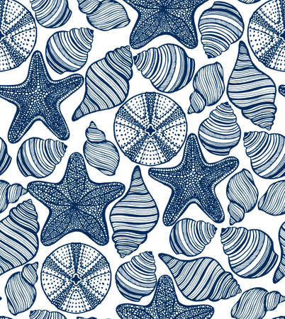seamless  background wit shells starfishes and urchins