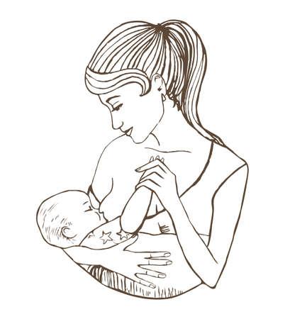 illustratie van moeder baby die borstvoeding Stock Illustratie