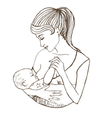 illustration of mother breastfeeding baby Иллюстрация