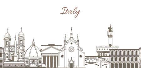template vettoriale disegnato a mano con la composizione con punti di riferimento famosi d'Italia
