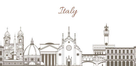 vector hand-drawn template with composition with famous landmarks of Italy