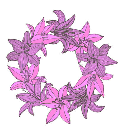 hand colored: vector colored lily hand drawn isolated garland Illustration