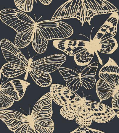 handdrawn: vector seamless hand-drawn dark background with butterflies
