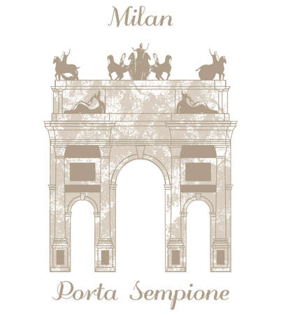 milan: vector hand-drawn illustration of Porta Sempione in Milan