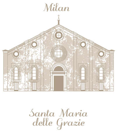 maria: vector hand-drawn illustration of Santa Maria delle Grazie