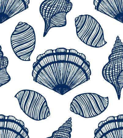 seamless background with seashells