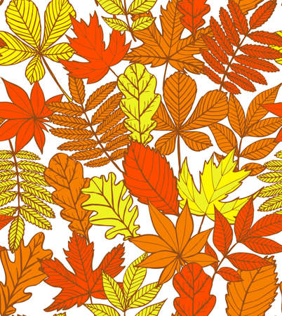 colorful autumn background with leaves Illustration
