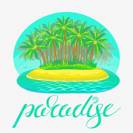 colorful illustration of tropical island with lettering