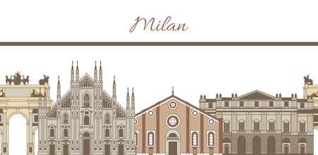 ミラノの有名なランドマークの成分で手描き色テンプレート