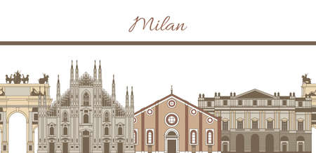 hand-drawn colored template with composition of famous landmarks of Milan