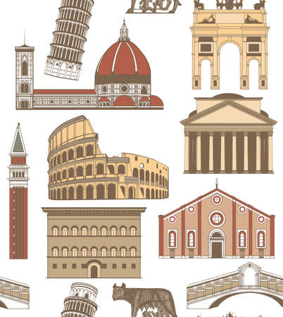 leaning tower of pisa: vector seamless colored background with famous Italian landmarks Illustration