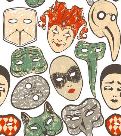 vettore sfondo trasparente con maschere di carnevale veneziano