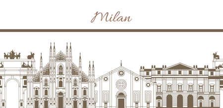 벡터 밀라노의 유명한 랜드 마크 조성 색깔의 템플릿을 손으로 그린 일러스트