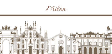 vector hand-drawn colored template with composition of famous landmarks of Milan