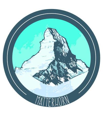 matterhorn: vector hand drawn illustration of mountain Matterhorn