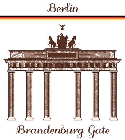 vector hand-drawn illustration of Brandenburg Gate Иллюстрация