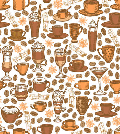 preparing: vector hand drawn coffee background with cups and cocktails