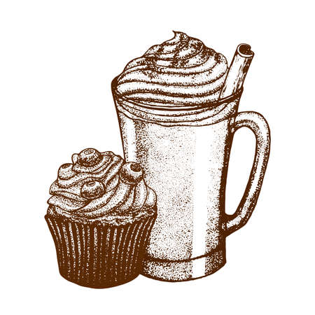 eggnog: vector hand drawn graphic illustration with coffee mug and berry muffin