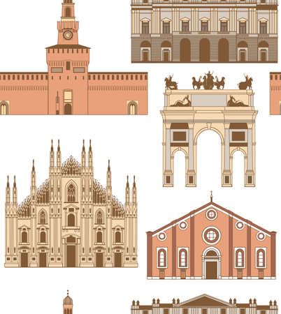 vector colored background with famous Milan landmarks